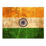 Bandera rasguñada y llevada del indio del vintage tarjeta postal