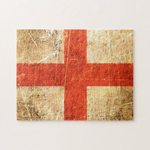 Bandera rasguñada y llevada del inglés del vintage rompecabezas