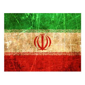 Bandera rasguñada y llevada del iraní del vintage postales