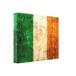 Bandera rasguñada y llevada del irlandés del vinta lona envuelta para galerias