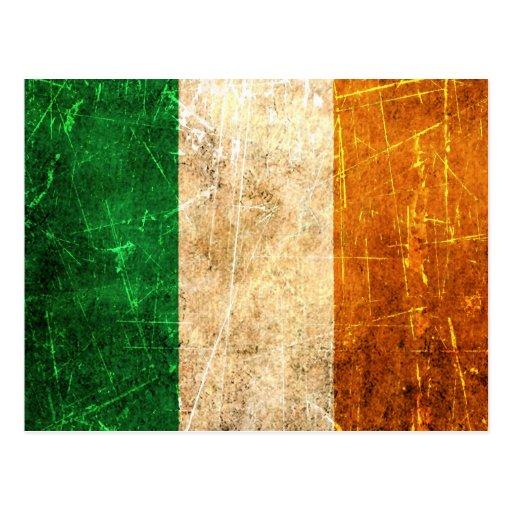 Bandera rasguñada y llevada del irlandés del vinta postal