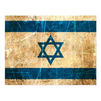 Bandera rasguñada y llevada del israelí del vintag postal