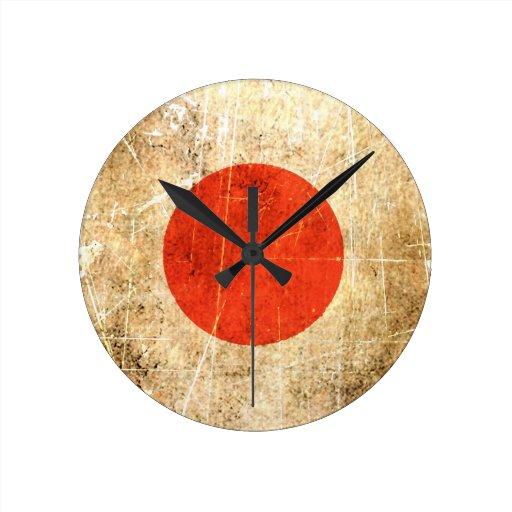 Bandera rasguñada y llevada del japonés del vintag reloj redondo mediano