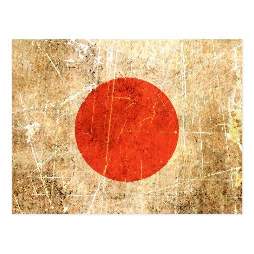 Bandera rasguñada y llevada del japonés del vintag postal
