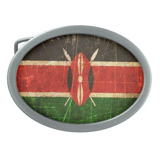 Bandera rasguñada y llevada del Kenyan del vintage Hebillas Cinturon Ovales