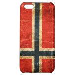Bandera rasguñada y llevada del noruego del vintag