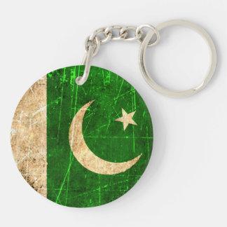 Bandera rasguñada y llevada del pakistaní del vint llavero redondo acrílico a doble cara