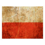 Bandera rasguñada y llevada del polaco del vintage impresiones