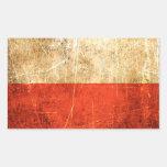 Bandera rasguñada y llevada del polaco del vintage etiqueta