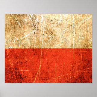 Bandera rasguñada y llevada del polaco del vintage póster