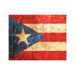 Bandera rasguñada y llevada del puertorriqueño del impresión en lienzo estirada