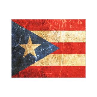 Bandera rasguñada y llevada del puertorriqueño del lienzo envuelto para galerias