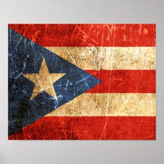 Bandera rasguñada y llevada del puertorriqueño del posters