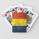 Bandera rasguñada y llevada del rumano del vintage barajas de cartas