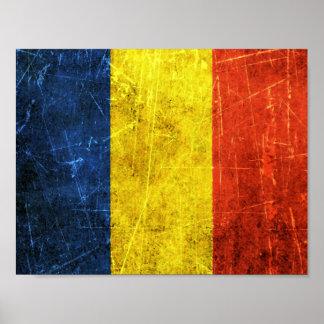 Bandera rasguñada y llevada del rumano del vintage póster