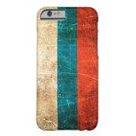 Bandera rasguñada y llevada del ruso del vintage funda de iPhone 6 barely there