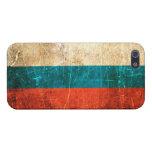 Bandera rasguñada y llevada del ruso del vintage iPhone 5 carcasas
