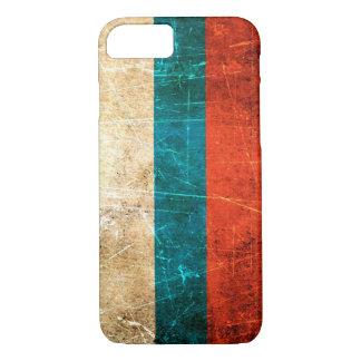 Bandera rasguñada y llevada del ruso del vintage funda iPhone 7