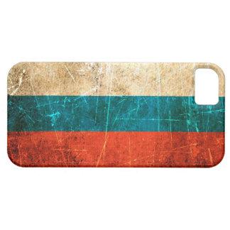 Bandera rasguñada y llevada del ruso del vintage funda para iPhone SE/5/5s