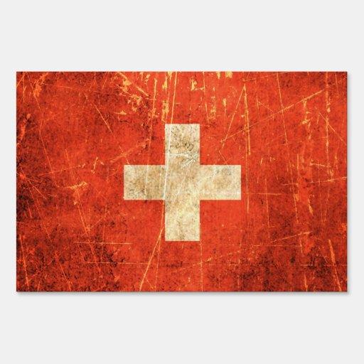 Bandera rasguñada y llevada del suizo del vintage