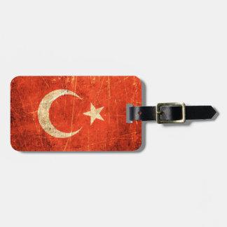 Bandera rasguñada y llevada del turco del vintage etiquetas de maletas