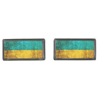 Bandera rasguñada y llevada del ucraniano del gemelos plomizos