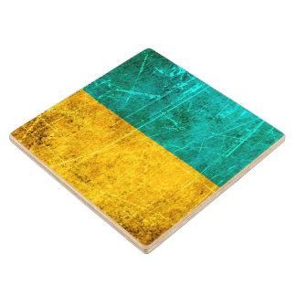 Bandera rasguñada y llevada del ucraniano del posavasos de madera