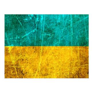 Bandera rasguñada y llevada del ucraniano del vint postales
