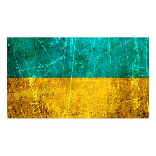 Bandera rasguñada y llevada del ucraniano del vint plantilla de tarjeta de negocio