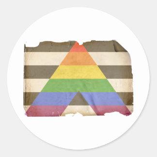 Bandera recta del aliado del vintage pegatina redonda