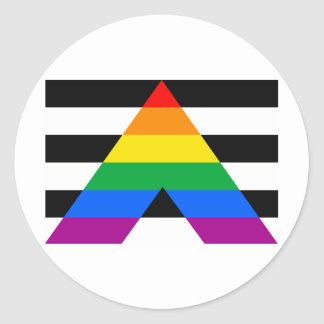 Bandera recta del aliado pegatina redonda