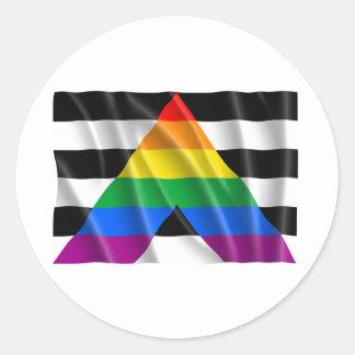 Bandera recta del aliado que agita pegatina redonda