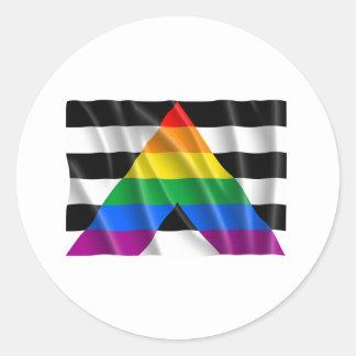 Bandera recta del aliado que agita etiqueta redonda