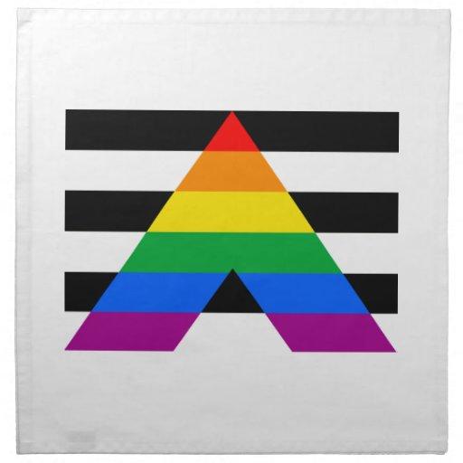 Bandera recta del aliado servilletas imprimidas