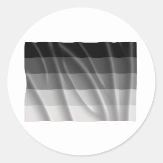 Bandera recta del orgullo que agita pegatina redonda