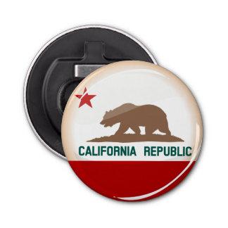 Bandera redonda brillante de California Abrebotellas Redondo