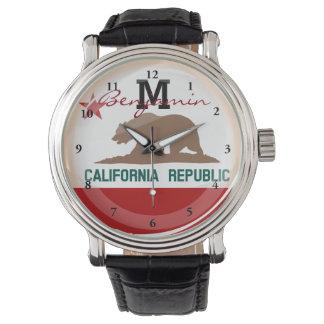 Bandera redonda brillante de California Relojes De Pulsera
