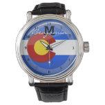 Bandera redonda brillante de Colorado Relojes De Mano