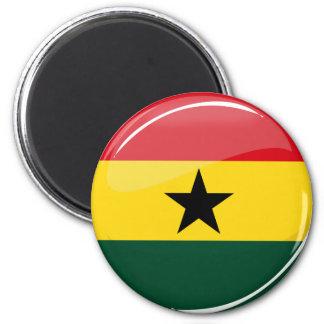 Bandera redonda brillante de Ghana Imán Redondo 5 Cm