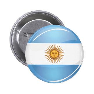 Bandera redonda brillante de la Argentina Pin Redondo De 2 Pulgadas