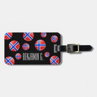 Bandera redonda brillante de Noruega Etiquetas De Maletas