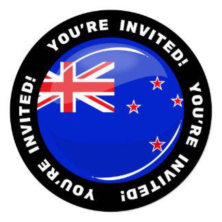 """Bandera redonda brillante de Nueva Zelanda Invitación 5.25"""" X 5.25"""""""