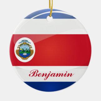 Bandera redonda brillante de Rican de la costa Adorno Navideño Redondo De Cerámica