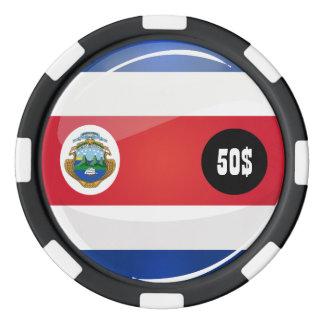 Bandera redonda brillante de Rican de la costa Fichas De Póquer