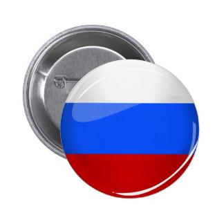 Bandera redonda brillante de Rusia Pin Redondo De 2 Pulgadas