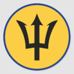 Bandera redonda de Barbados Etiqueta Redonda
