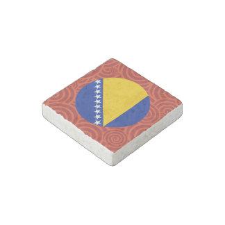 Bandera redonda de Bosnia y Hercegovina Imán De Piedra