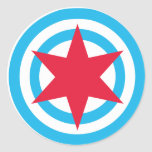 Bandera redonda de Chicago Etiqueta Redonda