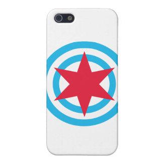 Bandera redonda de Chicago iPhone 5 Cárcasas
