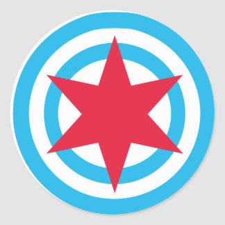 Bandera redonda de Chicago Pegatina Redonda